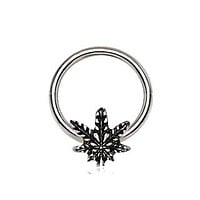 316L Stainless Steel Pot Leaf Snap-in Captive Bead Ring / Septum Ring