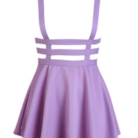 Purple Lattice Cut Out High Waisted Shoulder-straps Overall Skirt - Choies.com