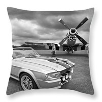 "Eleanor Mustang with P51 Black and White Throw Pillow for Sale by Gill Billington - 14"" x 14"""