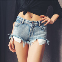 Summer Sexyl Hole Denim Shorts Female Vintage Women Tassel Ripped Jeans Shorts High Quality Wash Jeans