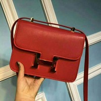 HERMES Women Shopping Leather Crossbody Satchel Shoulder Bag Red