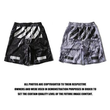 Off White Sports  Casual Pants Shorts Print Permeable Basketball [211466027020]