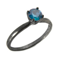 Blue Zircon RIng, Silver Solitaire Ring with Blue Zircon Gemstone, Oxidized Stacking Ring