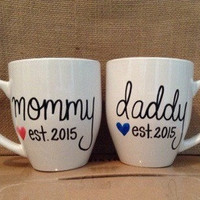 Mommy Daddy Est. Mugs. 16oz Pregnancy Announcement Mugs. New Parents Gift.