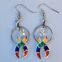 """Puzzle Charm 16"""" Necklace for Autism Awareness paired with Small Hoop Earrings"""