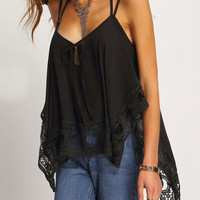 Black Lace Patchwork Asymmetrical Chiffon Cami 10306