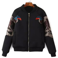 Black Phoenix Embroidery Baseball Jacket
