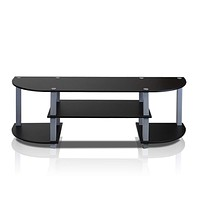 Furinno Turn-S-Tube Wide TV Entertainment Center, Black/Grey TV Stand