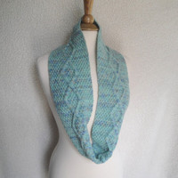 Multicolor Aqua Cowl Scarf with Cable Design, Infinity Scarf, Merino Wool, Hand Knit, Womens Infinity Cowl