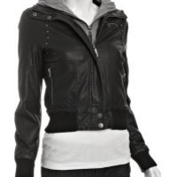 Bluefly - black faux leather studded bomber jacket with fleece hood customer reviews - product reviews - read top consumer ratings