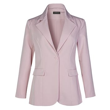 Work Office Long Sleeve Single Button Blazer Jacket With Pockets (CLEARANCE)