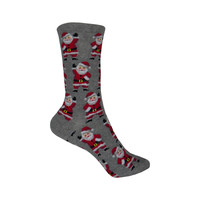 Waving Santa Crew Socks in Gray Heather