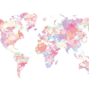 Watercolour World Map (pink) Stretched Canvas by Clover Chen