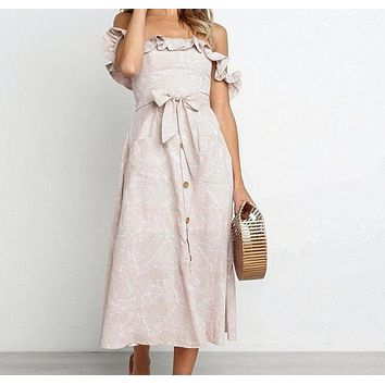 Miranda Off-the-Shoulder Midi Dress