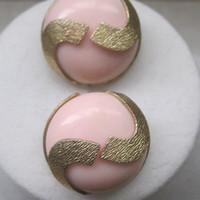 Vintage Jewelry Earrings Clip On Pastel Pink Gold 1950's Mid Century