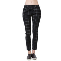 2016 Spring New Fashion Women Trousers Checks Plaid Print Elastic Waistband Slant Pockets Slim Fit Vintage Pants Black
