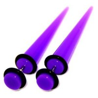 Fake Cheaters Illusion Tapers Expanders Stretchers Plugs Purple, 16G 1.2mm, Look 2G 6mm, 1 Pair