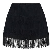 Black Tiered Fringe Shorts