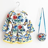 Princess Girls Dress Long Sleeve  Autumn Brand Children Christmas Dress with Bag Printed Kids Dresses for Girls Clothing
