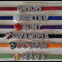 Personalized Bling Sports Team Family Members Rhinestone Charm Bracelet