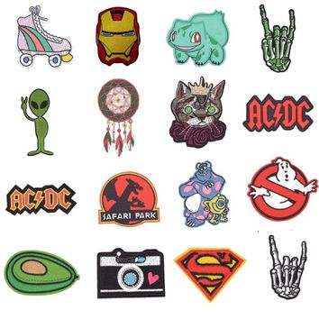 Ghostbusters Pokemon Acdc Superman Skeleton Cat Patches Iron On Fabric Sticker For Clothes Badge Embroidered Appliques DIY