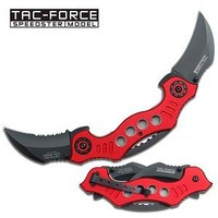 TAC Force TF-669RD Assisted Opening Tactical Double-Blade Folding Knife, Red Handle, 5-1/4-Inch Closed