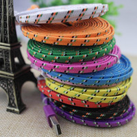 2M/6FT Flat Braided Fabic Woven Wire for iPhone 5 5s 6 6Plus 8pin Data Syn Charger Cord