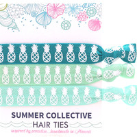 Summer Collective -  White Pineapple Hair Ties | Aqua
