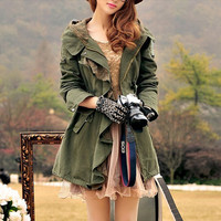 Flounce leisure army green Cotton Long Jacket by colorfulday01