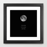 To the moon and back Framed Art Print by Deadly Designer