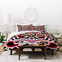 Andi Bird Beat Goes On Red Duvet Cover