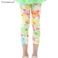 2017Summer Girls Leggings Clothes Kids Children Flower Printed Pants Spring Toddler Girl Sport Legging Trousers Clothing CI008