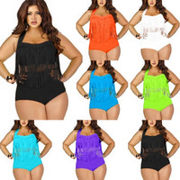 Women's Plus Size Push Up Fringe Tassel High Waist Swimwear Bikini Set = 1945966084