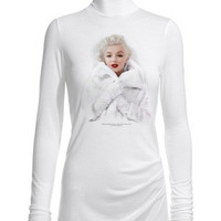 Marilyn Monroe White Fur White Turtleneck Sweater Top