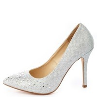 Glitter Mesh Rhinestone Pointed Toe Pumps by Charlotte Russe - Silver