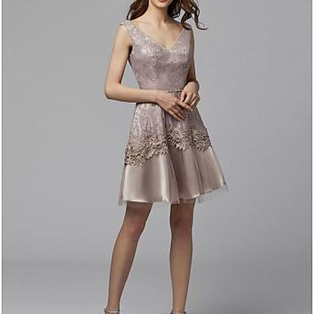 A-Line V Neck Short / Mini Lace / Tulle Cocktail Party / Formal Evening Dress with Beading / Appliques by TS Couture®