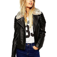 Black Faux Fur Collar Zippered Jacket