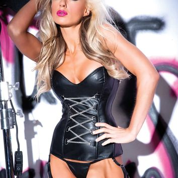 Chains of Pleasure Faux Leather Corset Set