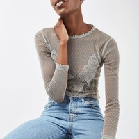 Sequin Lace Mesh Long Sleeve Top | Topshop