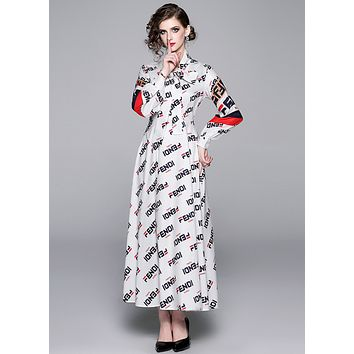 Fendi New fashion style V-neck lace up big swing Printed Dress