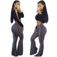 Lace-Up Crop Top and Print Trousers 22139