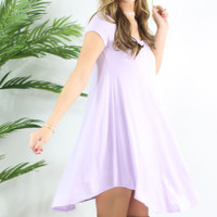 The Last Song Lavender Casual V-Neck T-Shirt Dress