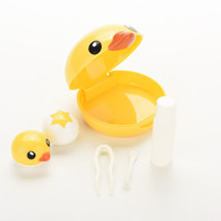 New 1pcs Lovely Cute Cartoon Duck Design Contact Lens Box Case Holder Container Case For Lenses with Mirror