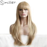 Similler Long Straight Natural Blonde Cosplay Synthetic Wigs Heat Resistant Fiber Fake Hair With Bangs