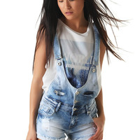 Denim overall short with rolled hem