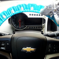 Steering Wheel Cover Teal with Silver Polka dots Steering Wheel Covers with Bow