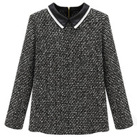 ROMWE | ROMWE Panel Zippered Faux Leather Collar Black Blouse, The Latest Street Fashion
