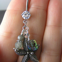 Sparkly Starfish, Abalone & Labradorite Crystal Belly Ring ~ Ocean Black Beach Belly Button Ring 14g 316L Surgical Steel Naval Jewelry