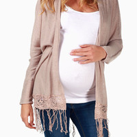 Mocha Crochet Accent Maternity Cardigan