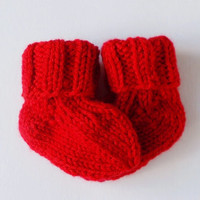 Hand Knit Newborn Baby Socks, Infant Newborn 0-3 Months, Ready To Ship, Warm Baby Clothing, Boy or Girl, Baby Shower Gift, Red Baby Socks